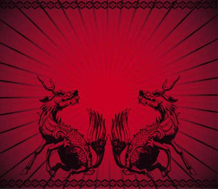 com escamas: Chinese Dragon and texture background Ilustra��o