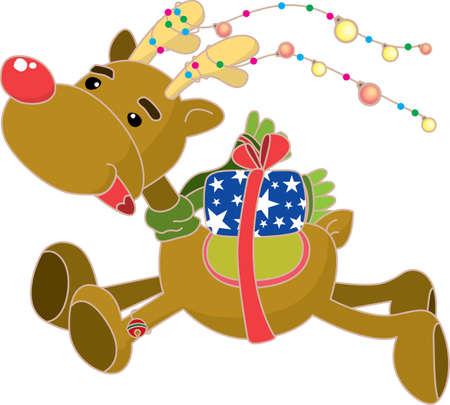 guileless: Christmas reindeer with gift box