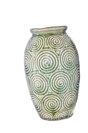 Green vase with white background