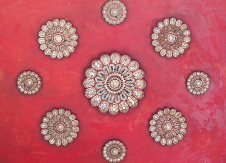 Ancient red  ceiling at temple with red backgroud
