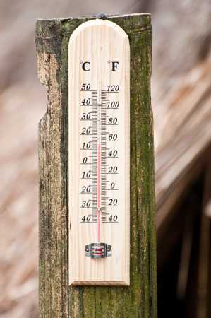 Temperature on brown bamboo with brown background photo