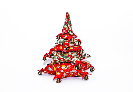 Red christmas tree with bells photo