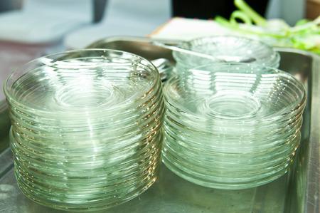 Transparent plates on tray