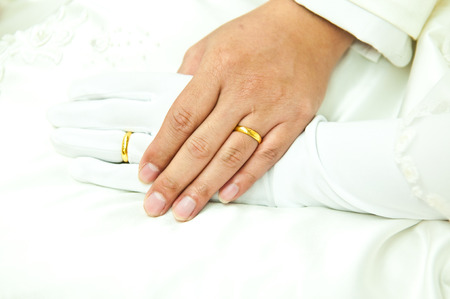 Gold rings on groom and brides ring fingers