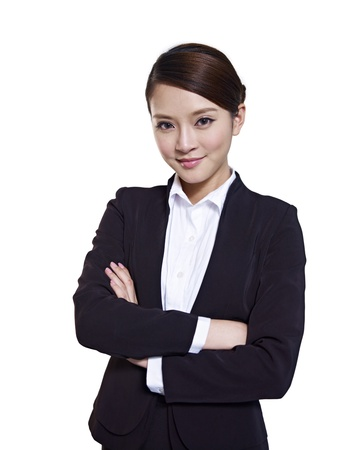 attire: asian businesswoman, isolated on white