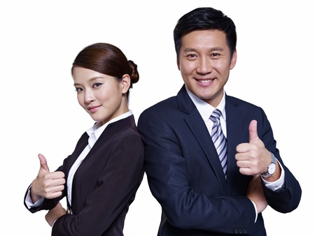 korean man: asian businessman and businesswoman standing back to back, thumbs up
