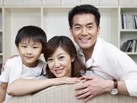 family photo: portrait of an asian family. Stock Photo