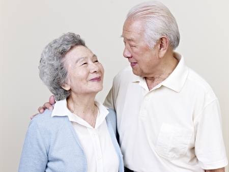 old man smiling: portrait of a senior asian couple