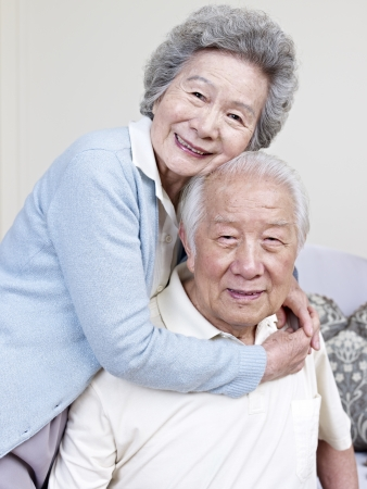 japanese family: portrait of a senior asian couple