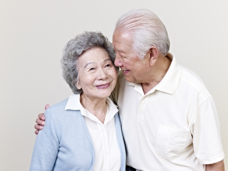 asian ladies: portrait of a senior asian couple