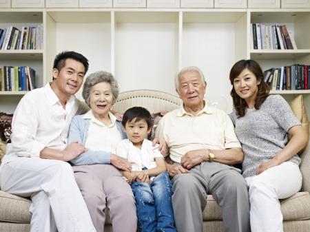 portret van een drie-generatie Aziatische familie Stockfoto