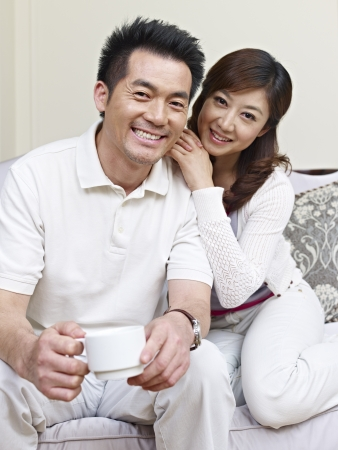 east espresso: portrait of a young asian couple  Stock Photo