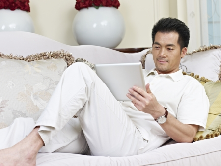 asian businessman working from home  photo