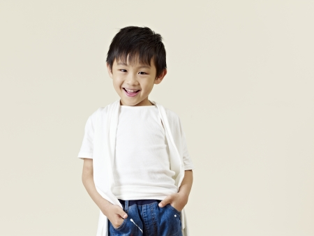 6 years: portrait of a little asian boy, six years old