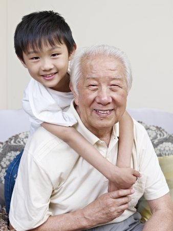 grandpa and grandson having fun at home  Stock Photo
