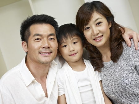 chinese family: portrait of an asian family of three  Stock Photo