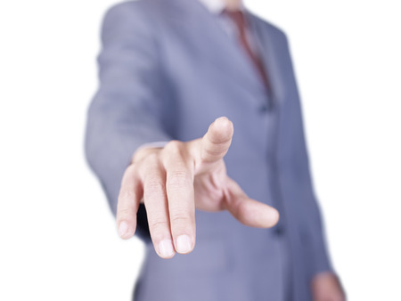 hand of businessman pressing button