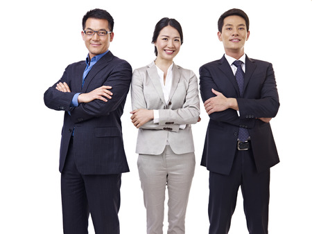 portrait  asian business team, isolated on white  photo