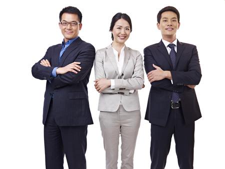 korean: portrait  asian business team, isolated on white