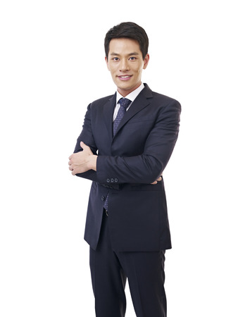 korean man: portrait of a young asian businessman, isolated on white