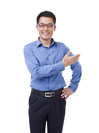 asiatischer Geschäftsmann, dass eine Einführung, isoliert auf weiß Standard-Bild