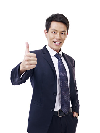 asian businessman showing thumb-up sign, isolated on white  Stock Photo