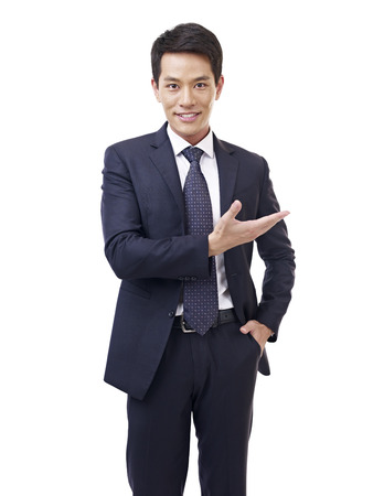 joyful businessman: studio portrait asian businessman, isolated on white