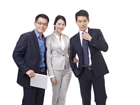 portrait of asian business people, isolated on white