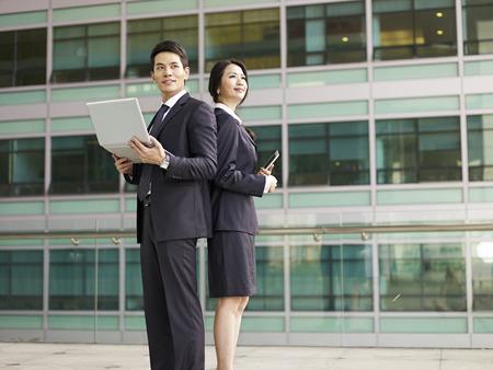 portrait of a businessman and a businesswoman.
