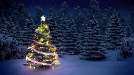 밤에 눈이 덮여 나무 전에 반짝 크리스마스 트리