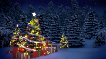 night before christmas: shiny Christmas tree before snow covered forest at night Stock Photo