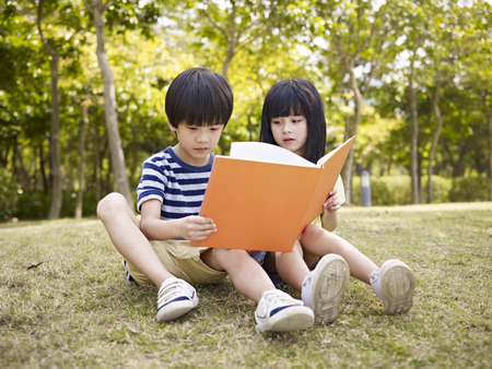 boy book: little asian boy and girl sitting on grass reading a book together, outdoors in a park. Stock Photo