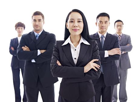 Studio Portrait einer multinationalen Business-Team, isoliert auf weißem Hintergrund. Standard-Bild