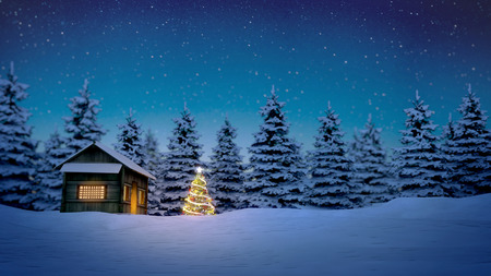 nighttime: lightened christmas tree in front of wooden cabin in snow at night with pine trees in background.