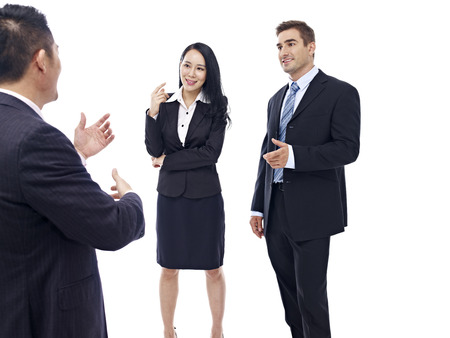 telling: business people chatting, isolated on white background. Stock Photo