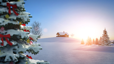 snow and trees: computer generated background image with christmas theme.