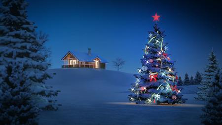 cabaña: imagen de fondo generado por ordenador con el tema de la Navidad. Foto de archivo