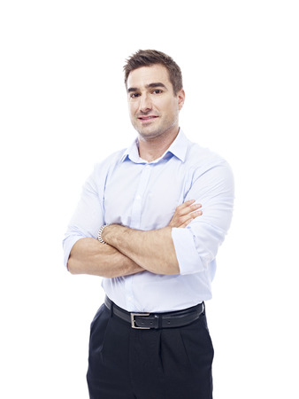 shit: studio portrait of a caucasian corporate executive, isolated on white background.