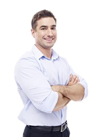 retrato: estudio de retrato de un ejecutivo caucásica, con los brazos cruzados, vista lateral, aislado sobre fondo blanco. Foto de archivo