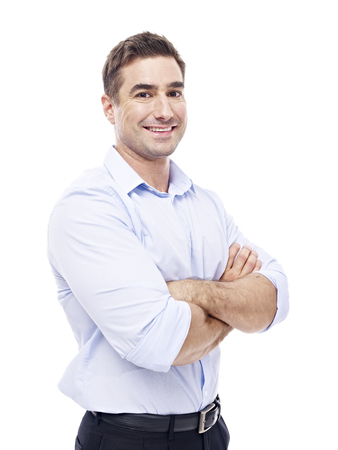 person: studio portrait of a caucasian corporate executive, arms crossed, side view,  isolated on white background.