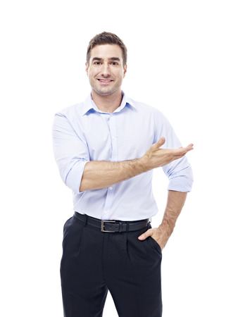rolled up sleeves: studio portrait of a caucasian corporate executive, isolated on white background.