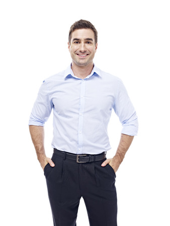 white man: studio portrait of a caucasian corporate executive, hands in pockets, isolated on white background. Stock Photo