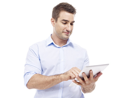 computer isolated: caucasian corporate executive with tablet computer, isolated on white background. Stock Photo