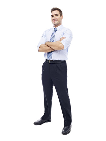 studio  isolated: studio portrait of a caucasian corporate executive, full length, isolated on white background.