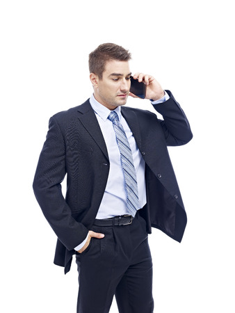 westerner: caucasian business person talking on cellphone, isolated on white background.