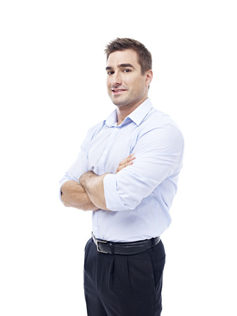 westerner: studio portrait of a caucasian corporate executive isolated on white background.