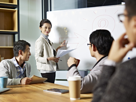 trainers: young asian business executive facilitating a discussion or brainstorm session in meeting room.