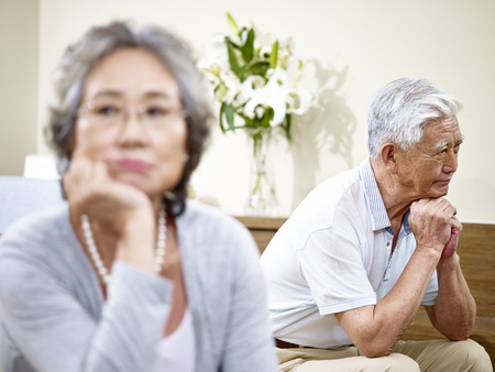 senior asian couple having relationship problem angry with each other. Stock Photo