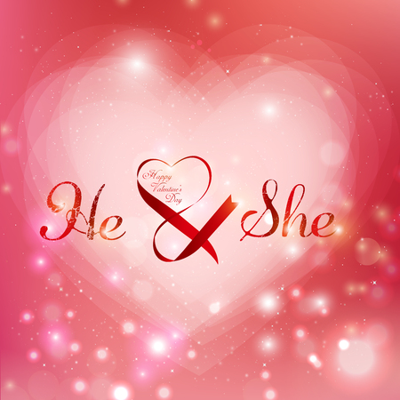 valentine's day text and graphic with heart shaped red background. Ilustrace