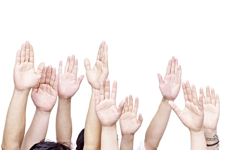 group of people raising their hands, isolated on white background.